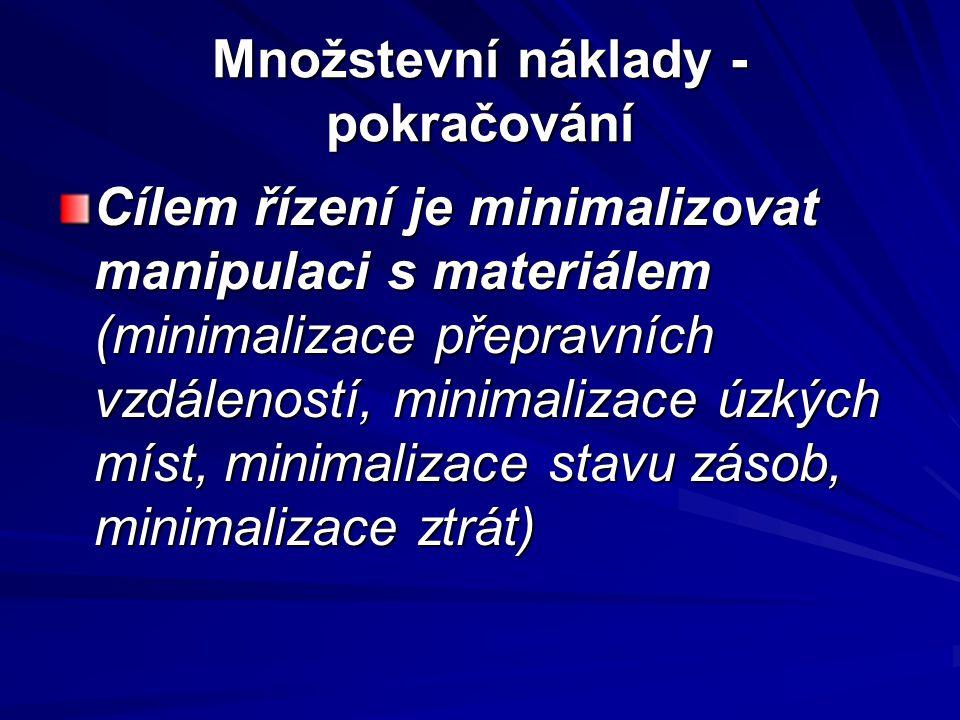 Množstevní náklady - pokračování Cílem řízení je minimalizovat manipulaci s materiálem (minimalizace přepravních vzdáleností, minimalizace úzkých míst