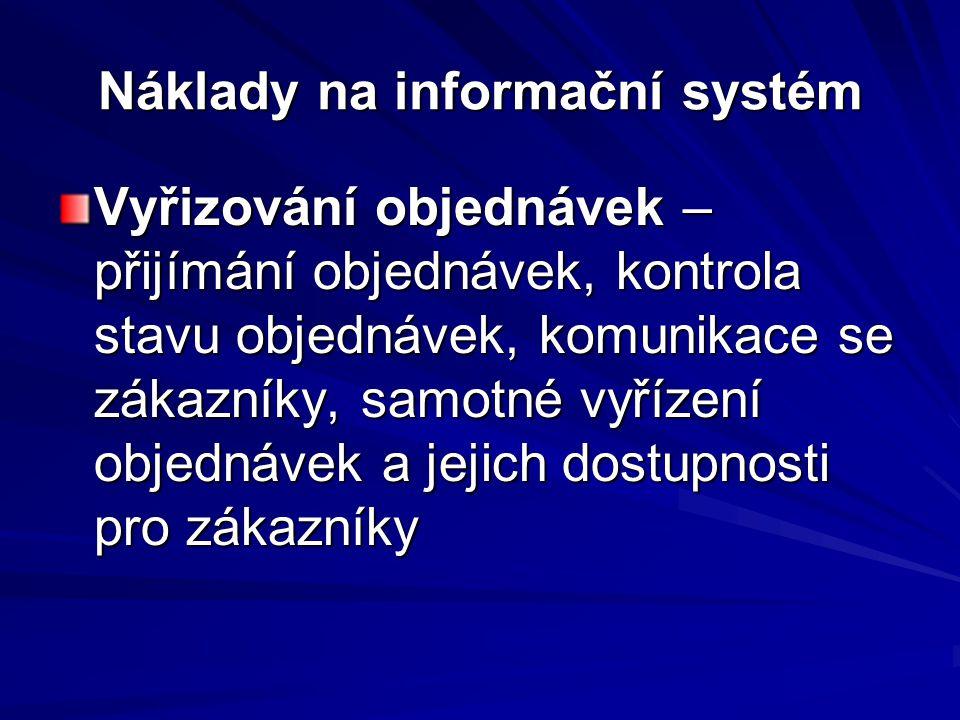 Náklady na informační systém Vyřizování objednávek – přijímání objednávek, kontrola stavu objednávek, komunikace se zákazníky, samotné vyřízení objedn