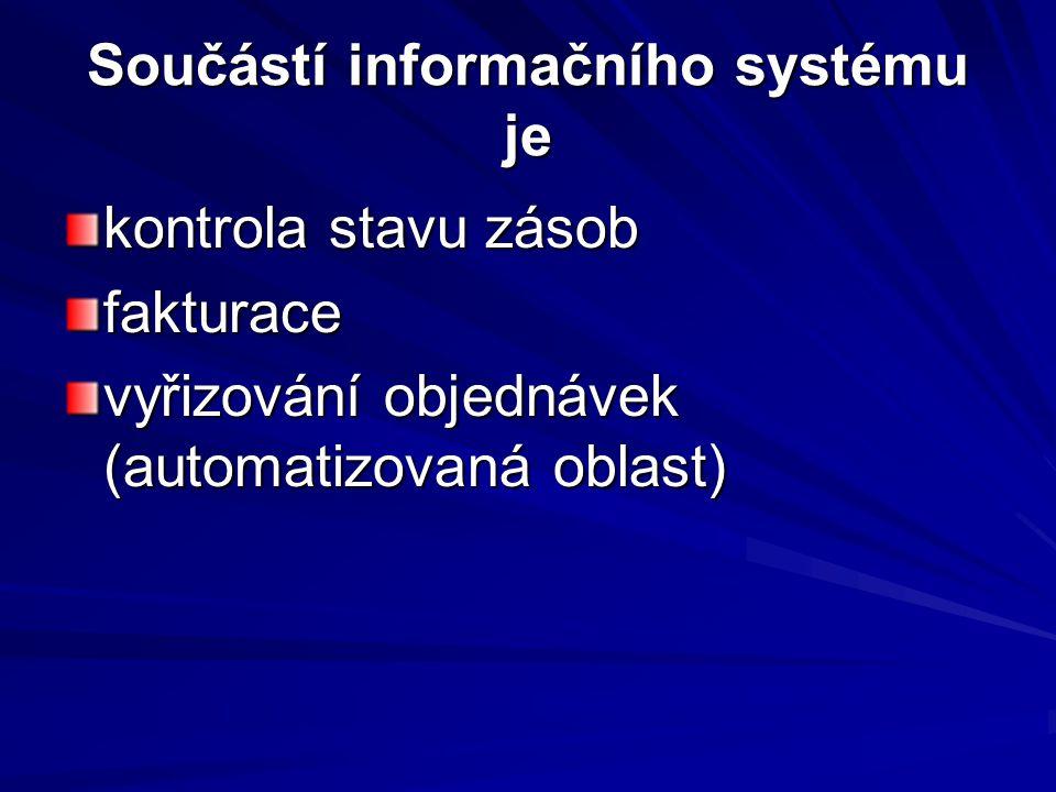 Součástí informačního systému je kontrola stavu zásob fakturace vyřizování objednávek (automatizovaná oblast)