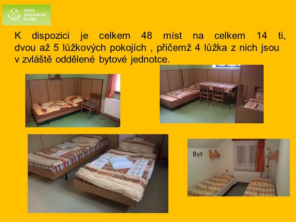 K dispozici je celkem 48 míst na celkem 14 ti, dvou až 5 lůžkových pokojích, přičemž 4 lůžka z nich jsou v zvláště oddělené bytové jednotce. Byt