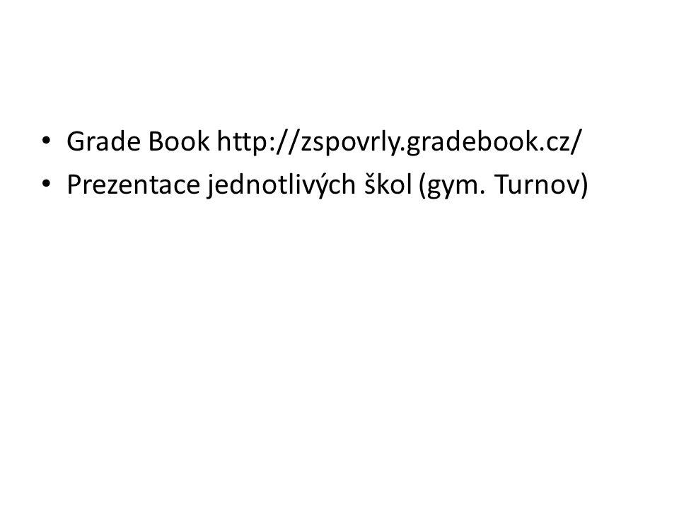 Grade Book http://zspovrly.gradebook.cz/ Prezentace jednotlivých škol (gym. Turnov)