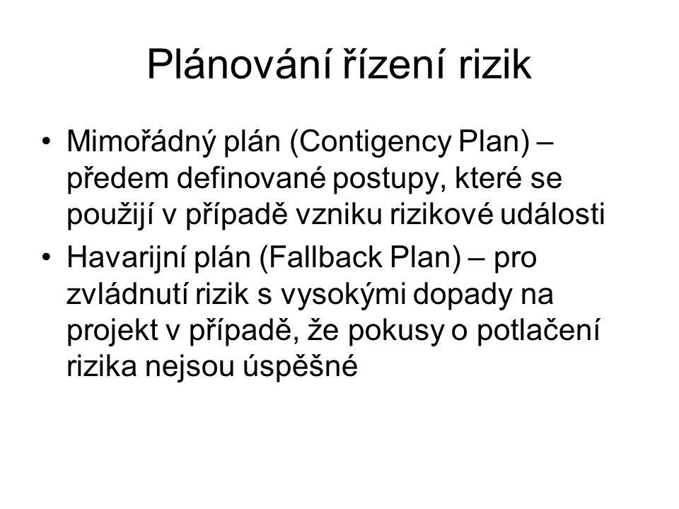 Plánování řízení rizik Mimořádný plán (Contigency Plan) – předem definované postupy, které se použijí v případě vzniku rizikové události Havarijní plá