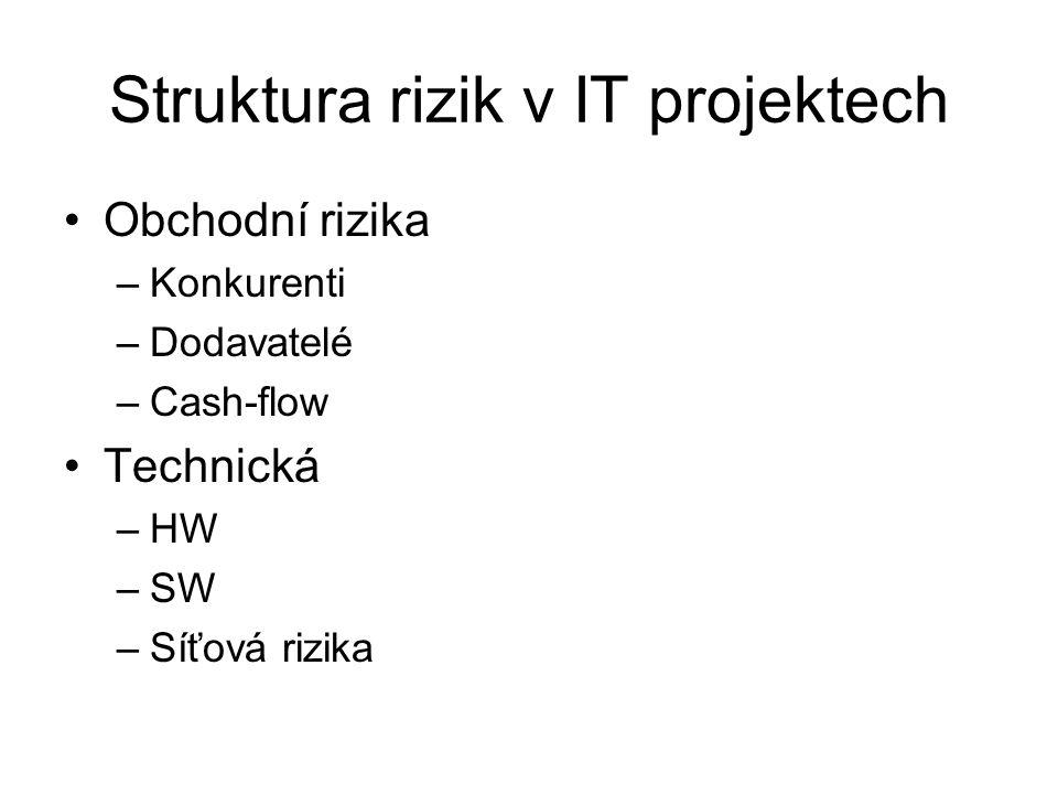 Struktura rizik v IT projektech Obchodní rizika –Konkurenti –Dodavatelé –Cash-flow Technická –HW –SW –Síťová rizika