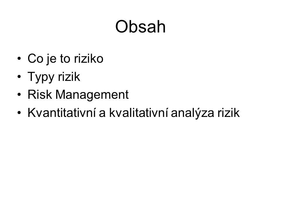 Obsah Co je to riziko Typy rizik Risk Management Kvantitativní a kvalitativní analýza rizik