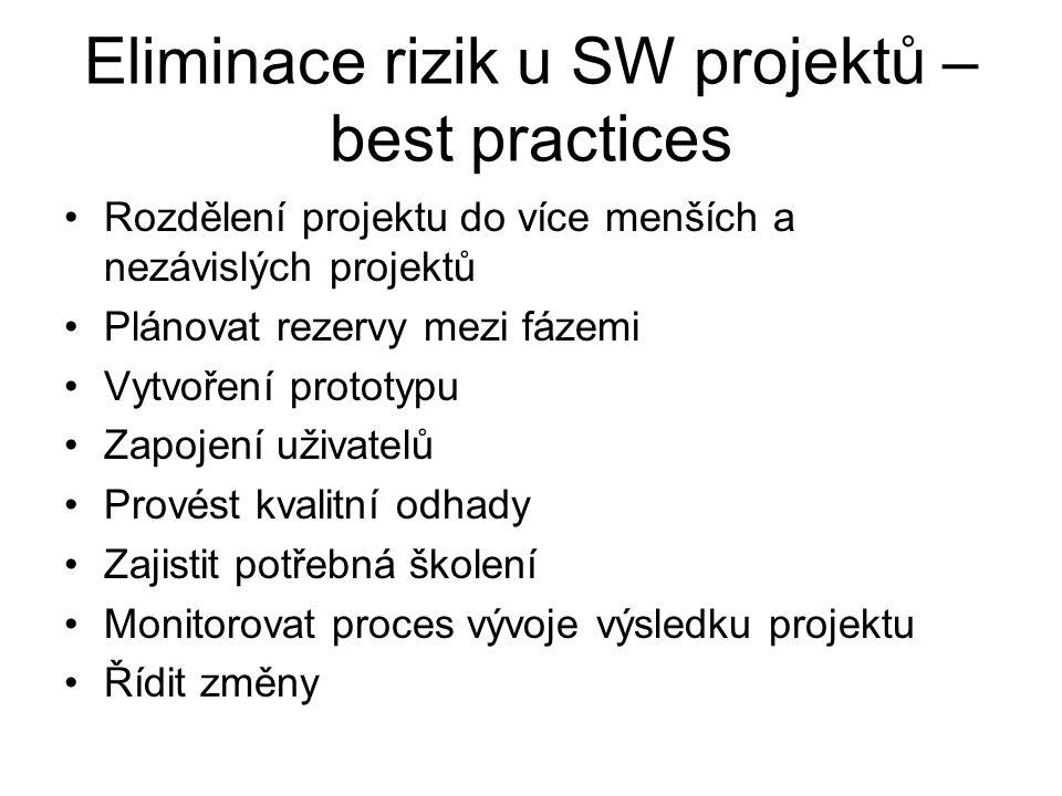 Eliminace rizik u SW projektů – best practices Rozdělení projektu do více menších a nezávislých projektů Plánovat rezervy mezi fázemi Vytvoření protot