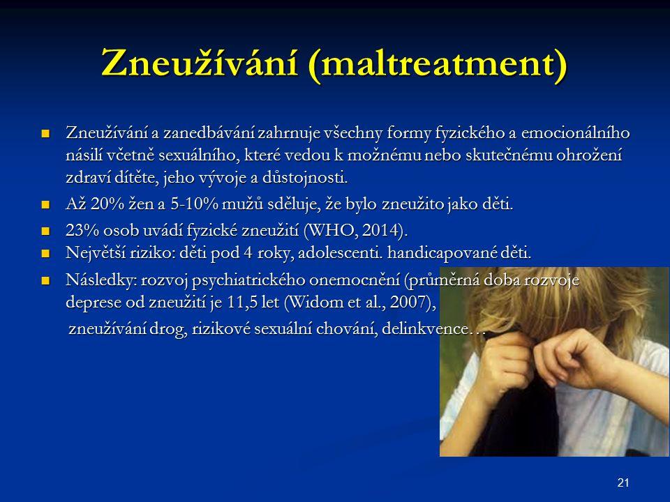 Zneužívání (maltreatment) Zneužívání a zanedbávání zahrnuje všechny formy fyzického a emocionálního násilí včetně sexuálního, které vedou k možnému ne