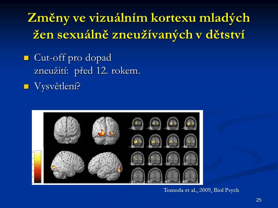Změny ve vizuálním kortexu mladých žen sexuálně zneužívaných v dětství Cut-off pro dopad zneužití: před 12. rokem. Vysvětlení? 25 Tomoda et al., 2009,