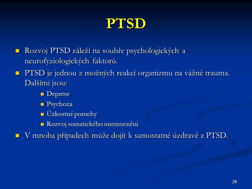 PTSD Rozvoj PTSD záleží na souhře psychologických a neurofyziologických faktorů. Rozvoj PTSD záleží na souhře psychologických a neurofyziologických fa