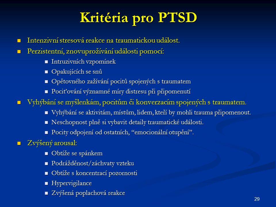 Kritéria pro PTSD Intenzivní stresová reakce na traumatickou událost. Intenzivní stresová reakce na traumatickou událost. Perzistentní, znovuprožívání