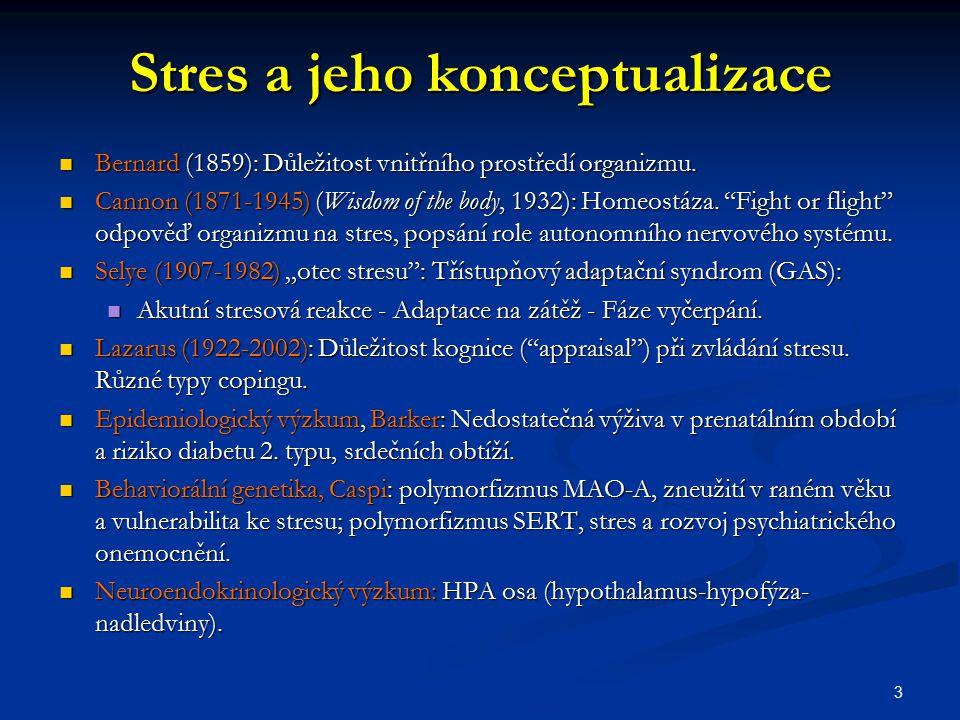 Prenatální stres Zvířecí modely: Stres v těhotenství vede k vyšší produkci glukokortikoidů u matky, které se skrz placentu dostávají k plodu a zvyšují jeho HPA aktivitu (sekundárně se objevují změny v hippocampu, amygdale, OFC aj.) (např.