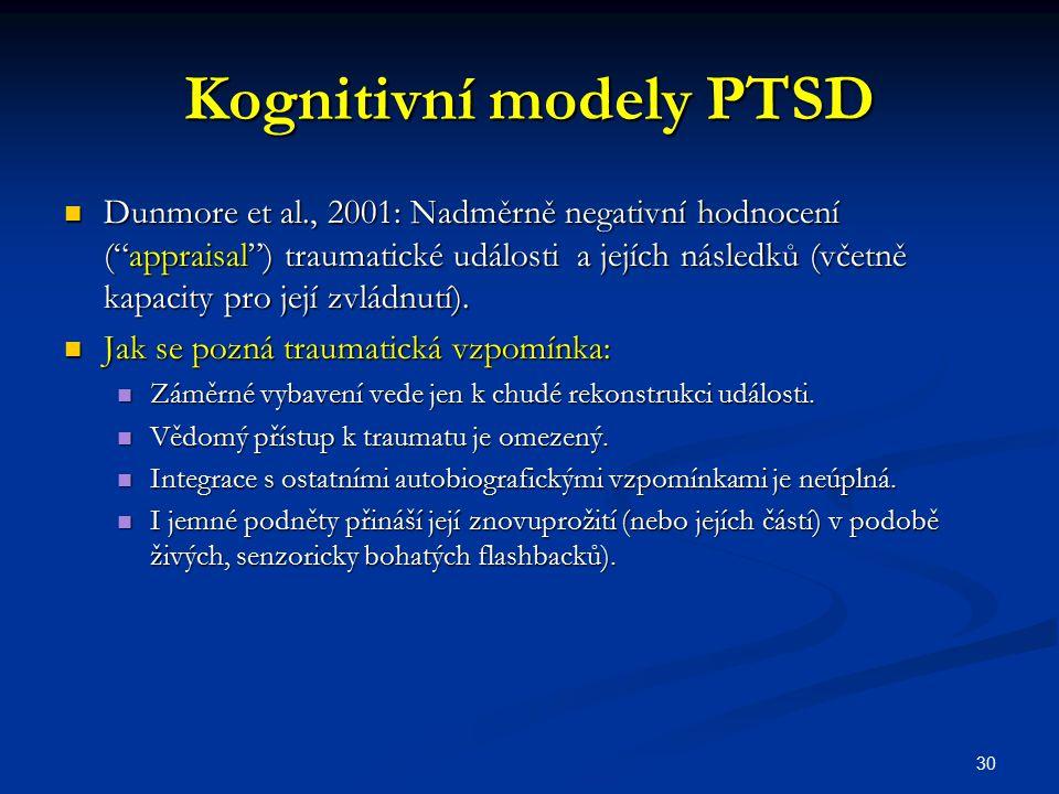 """Kognitivní modely PTSD Dunmore et al., 2001: Nadměrně negativní hodnocení (""""appraisal"""") traumatické události a jejích následků (včetně kapacity pro je"""