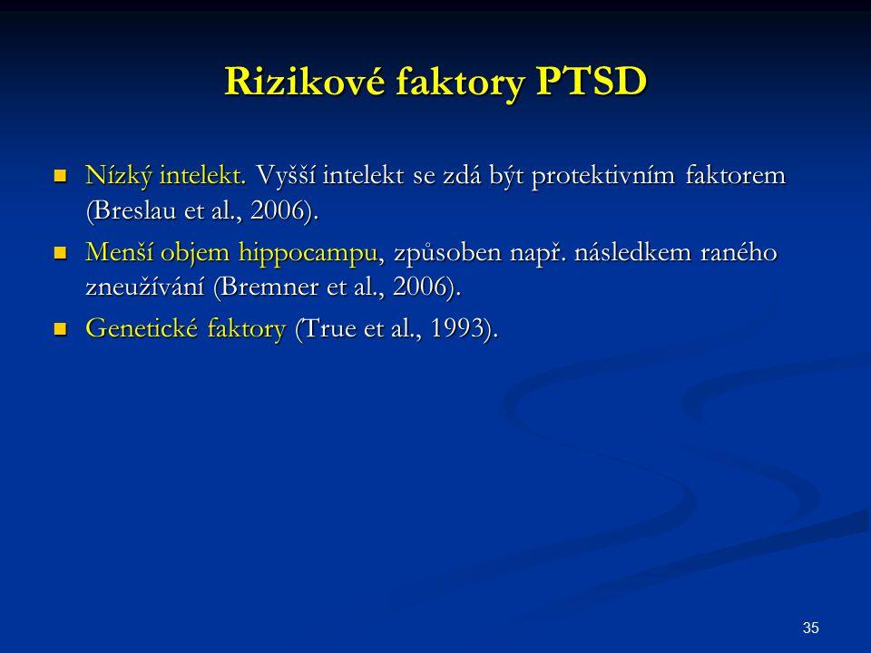 35 Rizikové faktory PTSD Nízký intelekt. Vyšší intelekt se zdá být protektivním faktorem (Breslau et al., 2006). Nízký intelekt. Vyšší intelekt se zdá