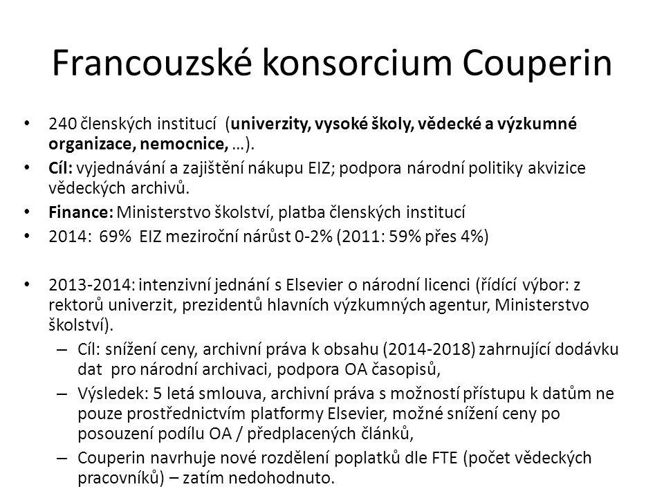 Francouzské konsorcium Couperin 240 členských institucí (univerzity, vysoké školy, vědecké a výzkumné organizace, nemocnice, …). Cíl: vyjednávání a za