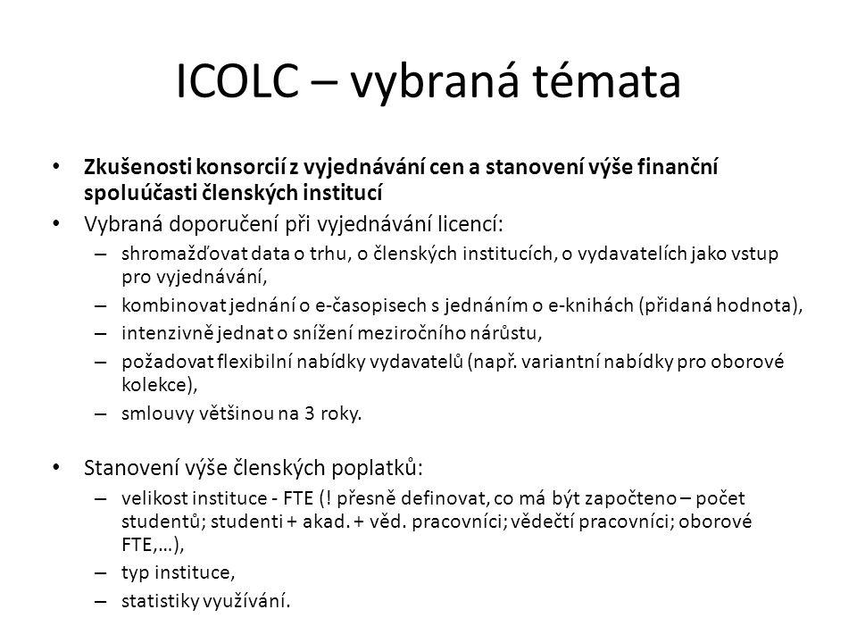 ICOLC – vybraná témata Zkušenosti konsorcií z vyjednávání cen a stanovení výše finanční spoluúčasti členských institucí Vybraná doporučení při vyjedná