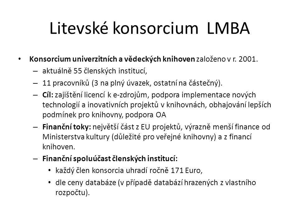 Litevské konsorcium LMBA Konsorcium univerzitních a vědeckých knihoven založeno v r. 2001. – aktuálně 55 členských institucí, – 11 pracovníků (3 na pl
