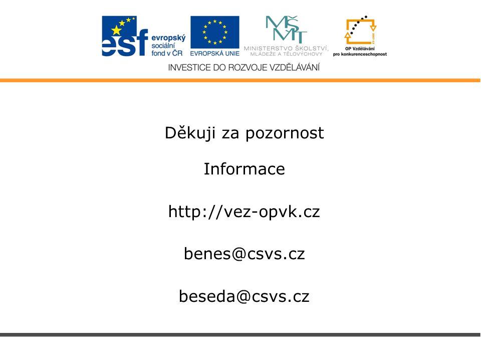 Děkuji za pozornost Informace http://vez-opvk.cz benes@csvs.cz beseda@csvs.cz