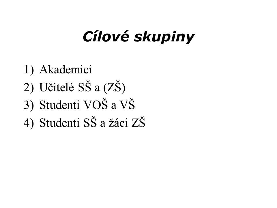 Cílové skupiny 1)Akademici 2)Učitelé SŠ a (ZŠ) 3)Studenti VOŠ a VŠ 4)Studenti SŠ a žáci ZŠ