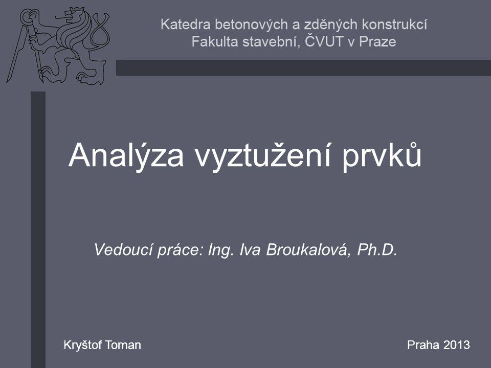 Analýza vyztužení prvků Vedoucí práce: Ing. Iva Broukalová, Ph.D. Kryštof TomanPraha 2013