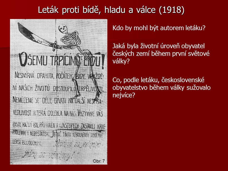 Leták proti bídě, hladu a válce (1918) Kdo by mohl být autorem letáku.
