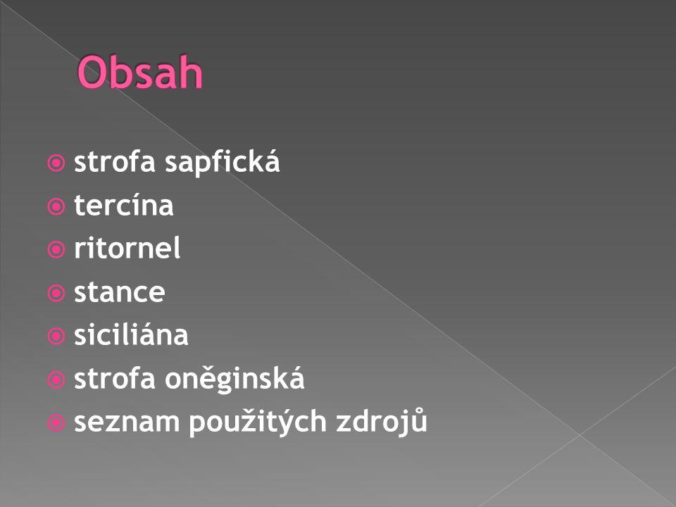  strofa sapfická  tercína  ritornel  stance  siciliána  strofa oněginská  seznam použitých zdrojů