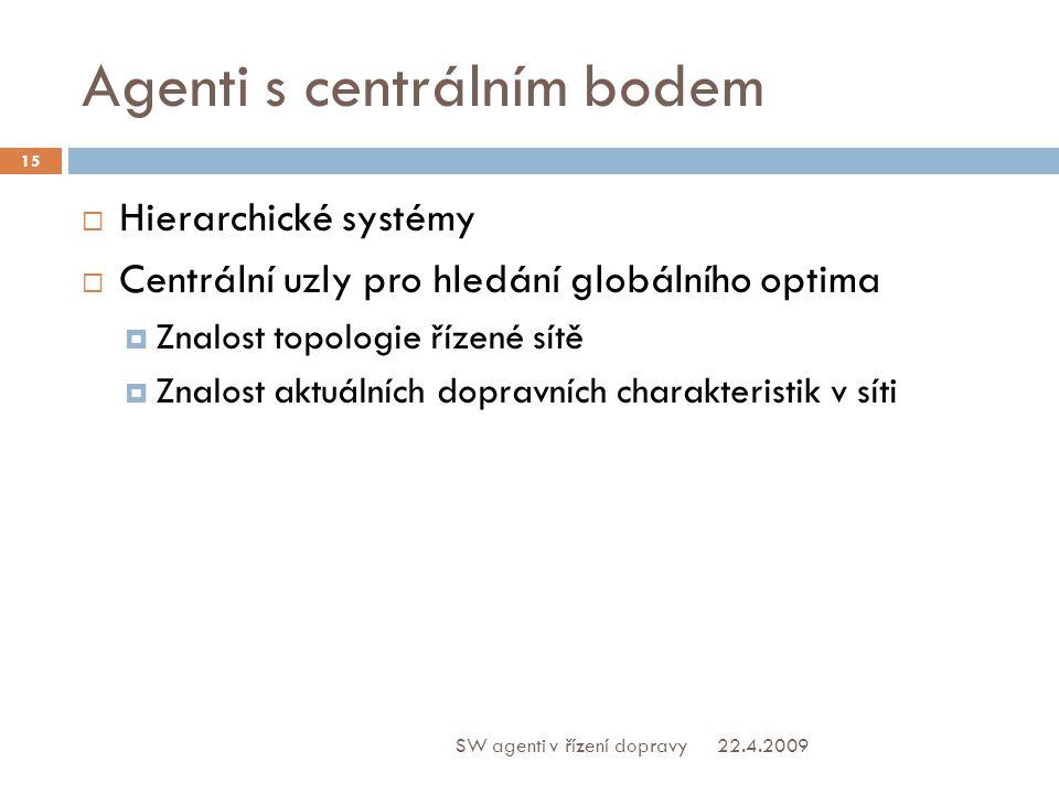 Agenti s centrálním bodem  Hierarchické systémy  Centrální uzly pro hledání globálního optima  Znalost topologie řízené sítě  Znalost aktuálních dopravních charakteristik v síti 22.4.2009 15 SW agenti v řízení dopravy