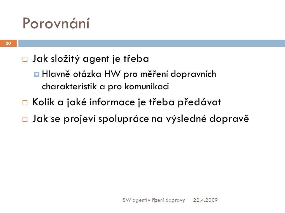 Porovnání  Jak složitý agent je třeba  Hlavně otázka HW pro měření dopravních charakteristik a pro komunikaci  Kolik a jaké informace je třeba předávat  Jak se projeví spolupráce na výsledné dopravě 22.4.2009 20 SW agenti v řízení dopravy