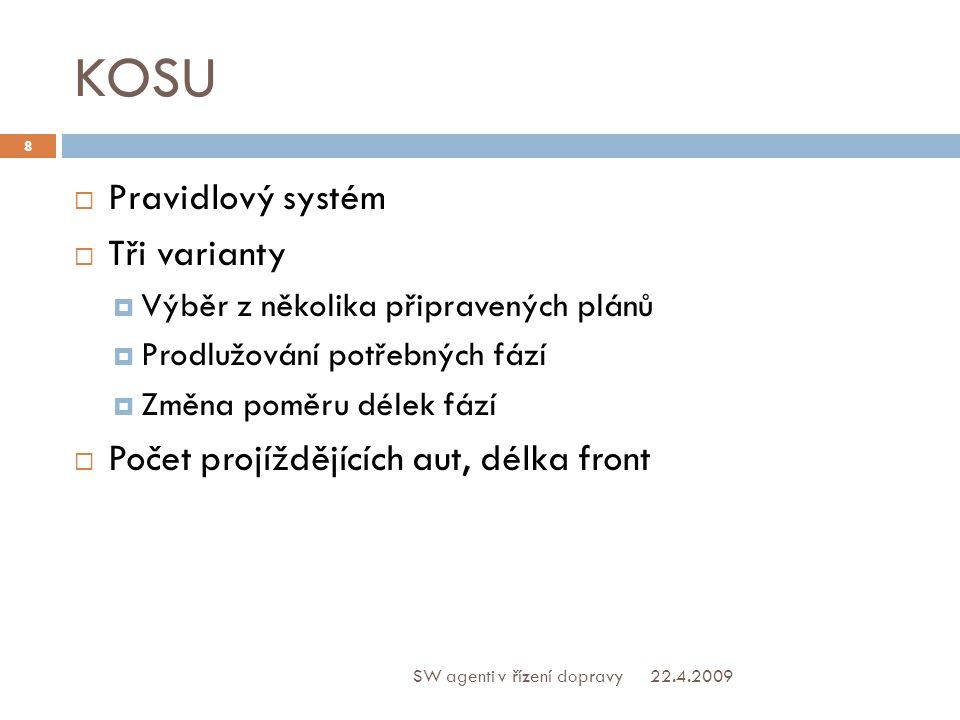 KOSU  Pravidlový systém  Tři varianty  Výběr z několika připravených plánů  Prodlužování potřebných fází  Změna poměru délek fází  Počet projíždějících aut, délka front 22.4.2009 8 SW agenti v řízení dopravy