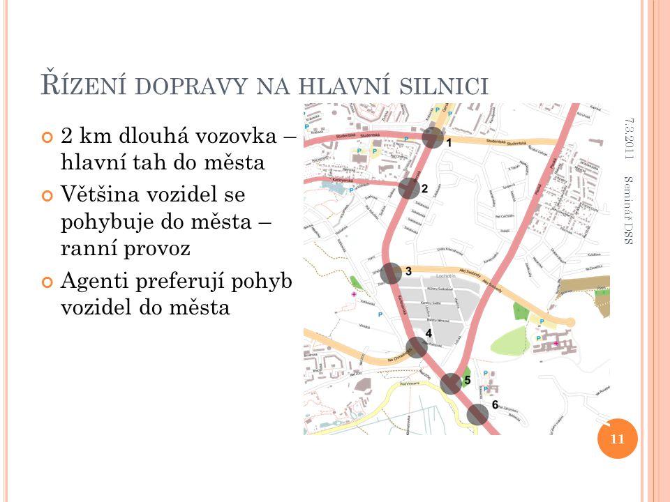 Ř ÍZENÍ DOPRAVY NA HLAVNÍ SILNICI 2 km dlouhá vozovka – hlavní tah do města Většina vozidel se pohybuje do města – ranní provoz Agenti preferují pohyb vozidel do města 7.3.2011 11 Seminář DSS
