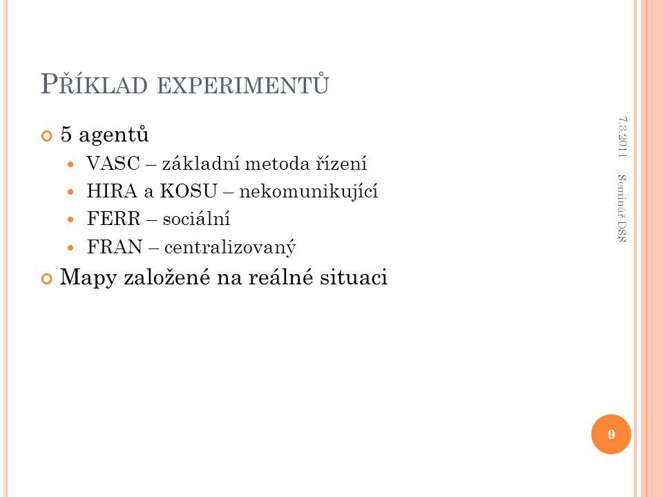 P ŘÍKLAD EXPERIMENTŮ 5 agentů VASC – základní metoda řízení HIRA a KOSU – nekomunikující FERR – sociální FRAN – centralizovaný Mapy založené na reálné situaci 7.3.2011 9 Seminář DSS