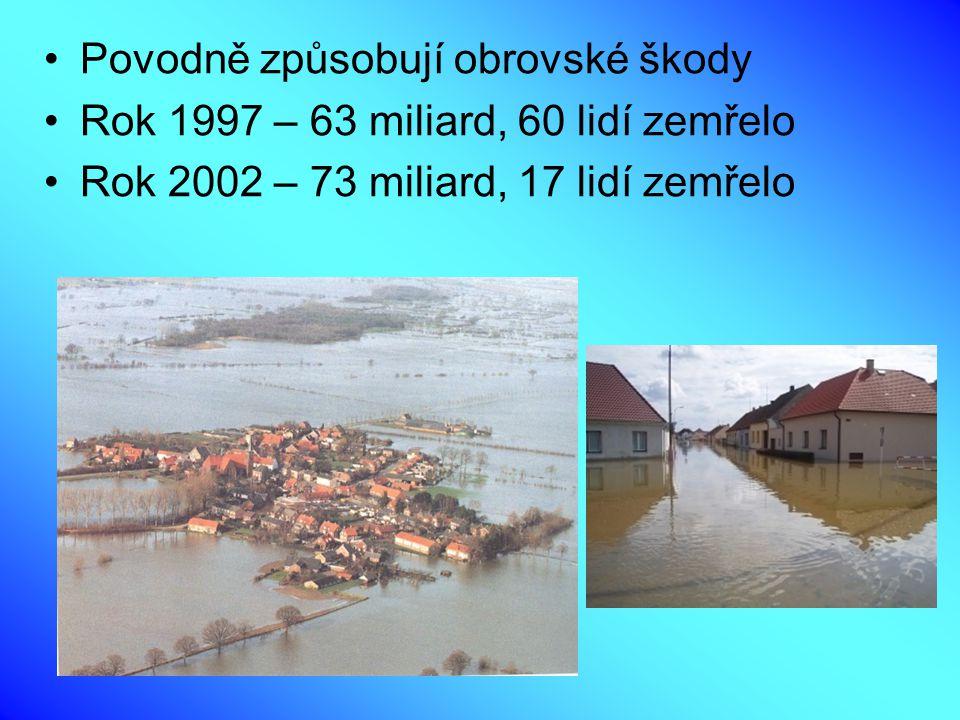 Povodně způsobují obrovské škody Rok 1997 – 63 miliard, 60 lidí zemřelo Rok 2002 – 73 miliard, 17 lidí zemřelo