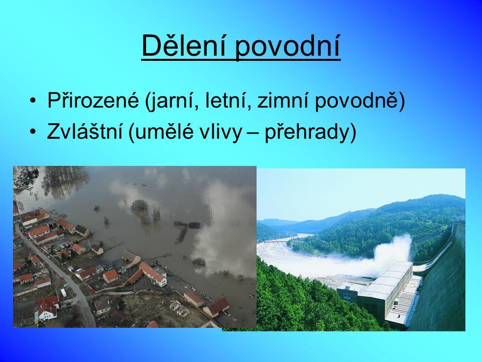 Dělení povodní Přirozené (jarní, letní, zimní povodně) Zvláštní (umělé vlivy – přehrady)