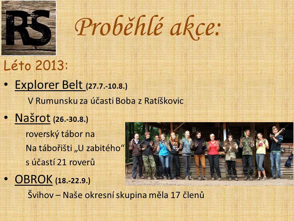 """Léto 2013: Explorer Belt (27.7.-10.8.) V Rumunsku za účasti Boba z Ratíškovic Našrot (26.-30.8.) roverský tábor na Na tábořišti """"U zabitého s účastí 21 roverů OBROK (18.-22.9.) Švihov – Naše okresní skupina měla 17 členů Proběhlé akce:"""