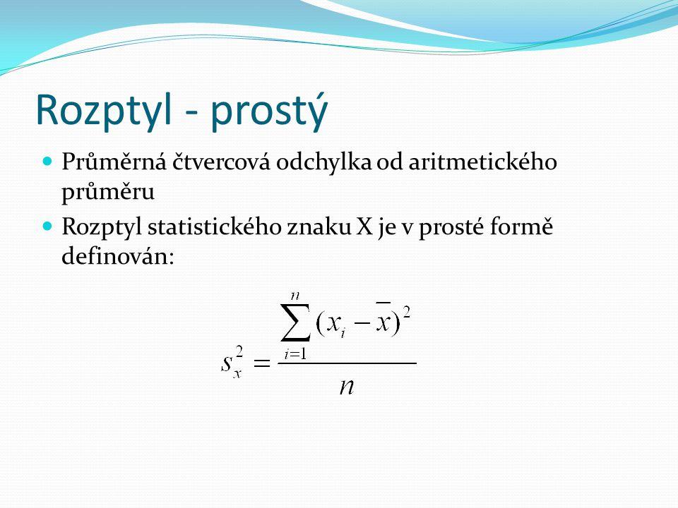 Rozptyl - prostý Průměrná čtvercová odchylka od aritmetického průměru Rozptyl statistického znaku X je v prosté formě definován: