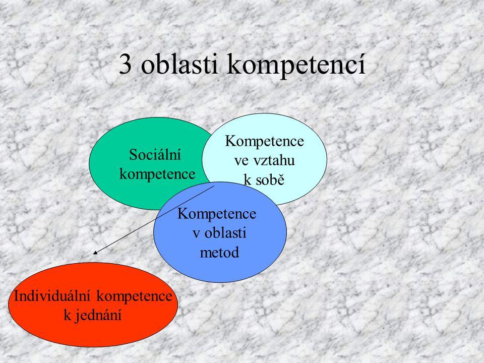 3 oblasti kompetencí: 3) Kompetence v oblasti metod (pokrač.): kriticky přezkoumávat v zájmu dosažení inovací zvažovat šance a rizika