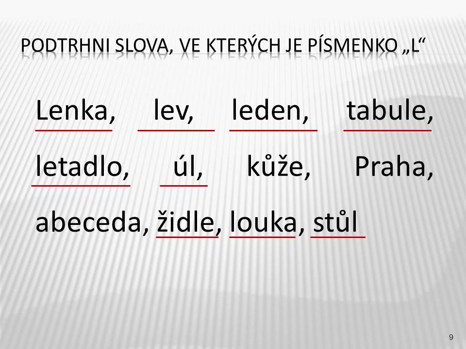 9 Lenka, lev, leden, tabule, letadlo, úl, kůže, Praha, abeceda, židle, louka, stůl