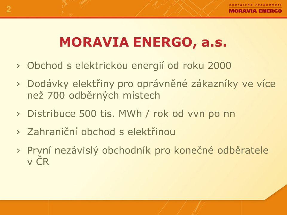 ›Obchod s elektrickou energií od roku 2000 ›Dodávky elektřiny pro oprávněné zákazníky ve více než 700 odběrných místech ›Distribuce 500 tis. MWh / rok