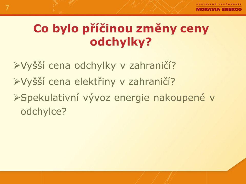 Co bylo příčinou změny ceny odchylky? 7  Vyšší cena odchylky v zahraničí?  Vyšší cena elektřiny v zahraničí?  Spekulativní vývoz energie nakoupené