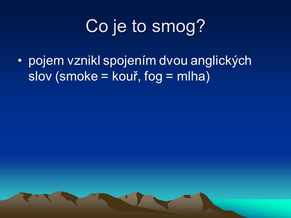 Co je to smog? pojem vznikl spojením dvou anglických slov (smoke = kouř, fog = mlha)