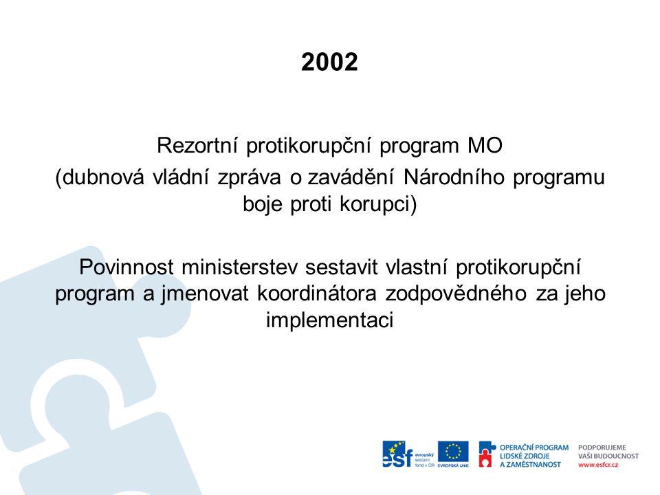 2002 Rezortní protikorupční program MO (dubnová vládní zpráva o zavádění Národního programu boje proti korupci) Povinnost ministerstev sestavit vlastní protikorupční program a jmenovat koordinátora zodpovědného za jeho implementaci