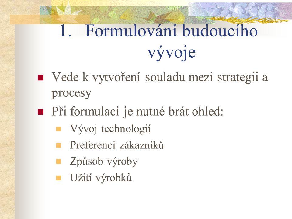 1.Formulování budoucího vývoje Vede k vytvoření souladu mezi strategii a procesy Při formulaci je nutné brát ohled: Vývoj technologií Preferenci zákazníků Způsob výroby Užití výrobků