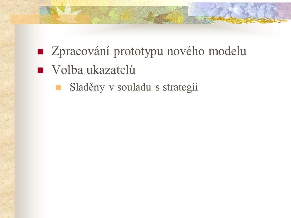 Zpracování prototypu nového modelu Volba ukazatelů Sladěny v souladu s strategii