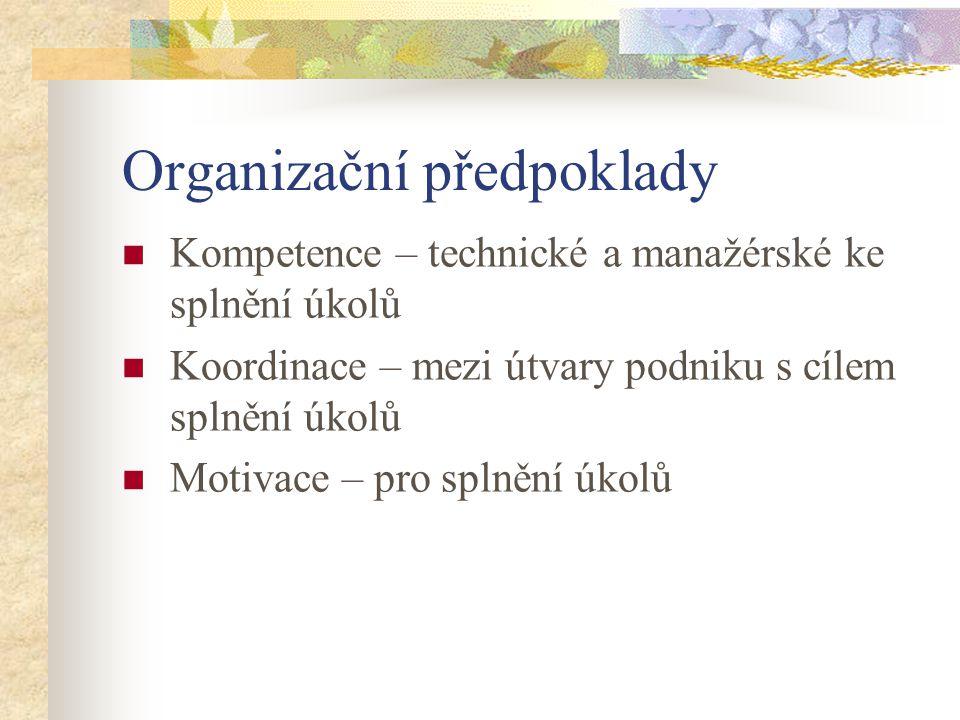 Organizační předpoklady Kompetence – technické a manažérské ke splnění úkolů Koordinace – mezi útvary podniku s cílem splnění úkolů Motivace – pro splnění úkolů