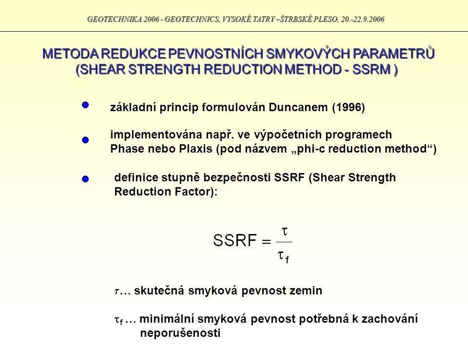 GEOTECHNIKA 2006 - GEOTECHNICS, VYSOKÉ TATRY –ŠTRBSKÉ PLESO, 20.-22.9.2006 METODA REDUKCE PEVNOSTNÍCH SMYKOVÝCH PARAMETRŮ (SHEAR STRENGTH REDUCTION ME