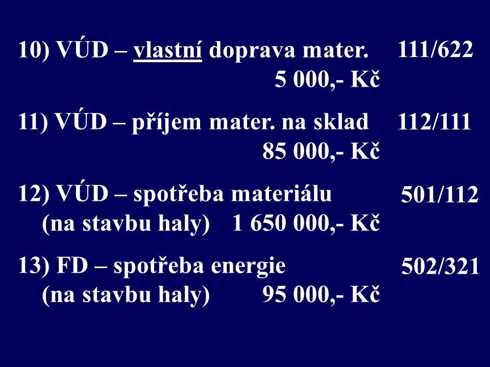 10) VÚD – vlastní doprava mater. 5 000,- Kč 11) VÚD – příjem mater. na sklad 85 000,- Kč 12) VÚD – spotřeba materiálu (na stavbu haly) 1 650 000,- Kč