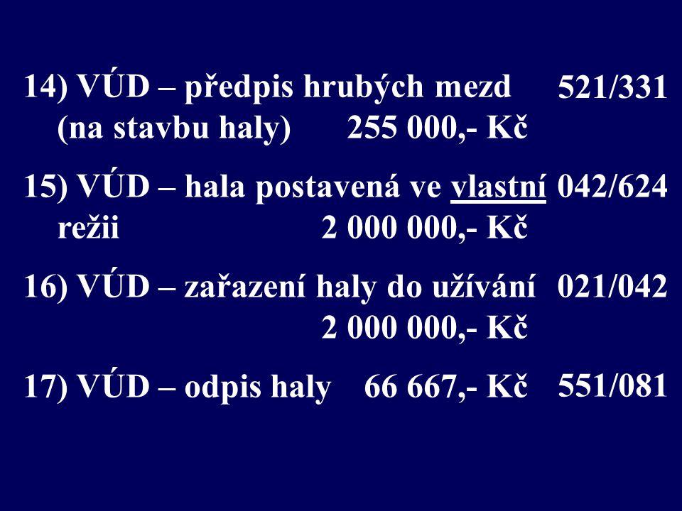 14) VÚD – předpis hrubých mezd (na stavbu haly) 255 000,- Kč 15) VÚD – hala postavená ve vlastní režii 2 000 000,- Kč 16) VÚD – zařazení haly do užívání 2 000 000,- Kč 17) VÚD – odpis haly66 667,- Kč 551/081 042/624 021/042 521/331