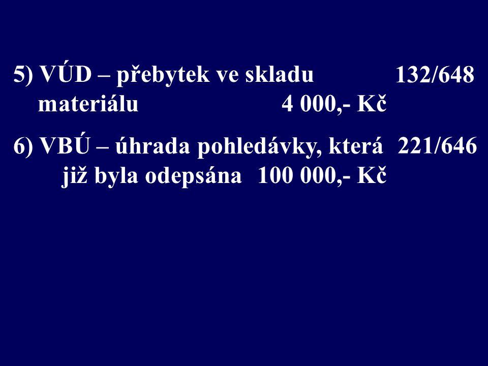 5) VÚD – přebytek ve skladu materiálu 4 000,- Kč 6) VBÚ – úhrada pohledávky, která již byla odepsána100 000,- Kč 221/646 132/648