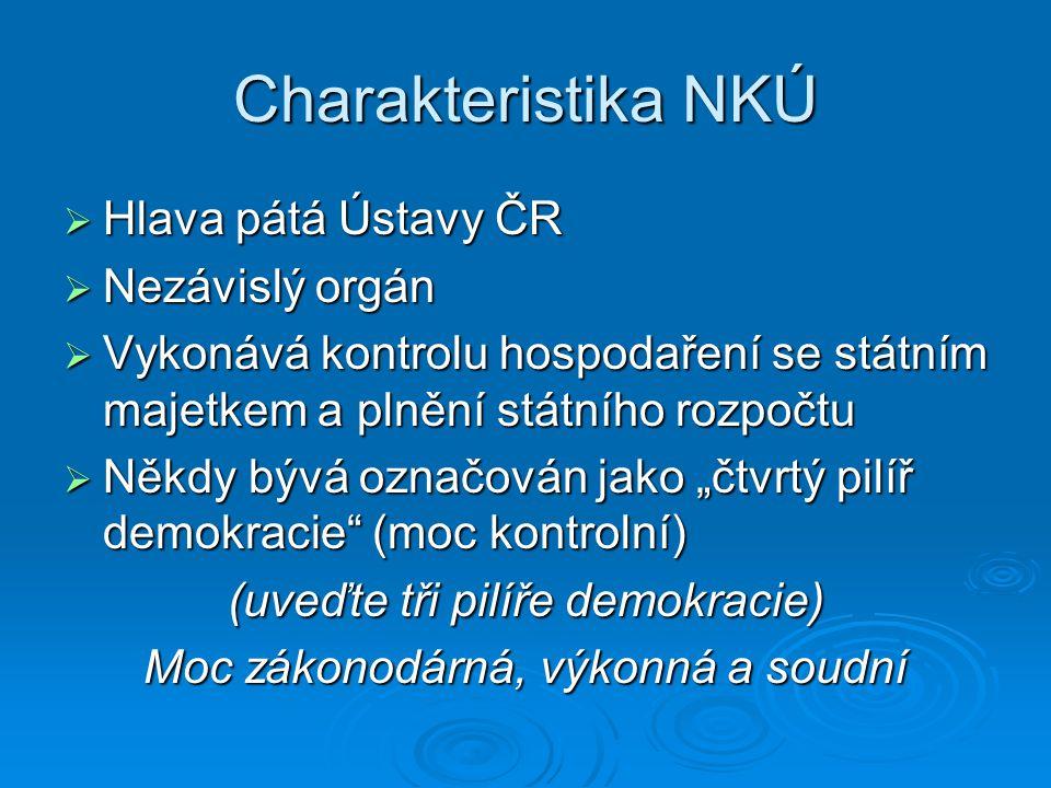 Charakteristika NKÚ  Hlava pátá Ústavy ČR  Nezávislý orgán  Vykonává kontrolu hospodaření se státním majetkem a plnění státního rozpočtu  Někdy bý