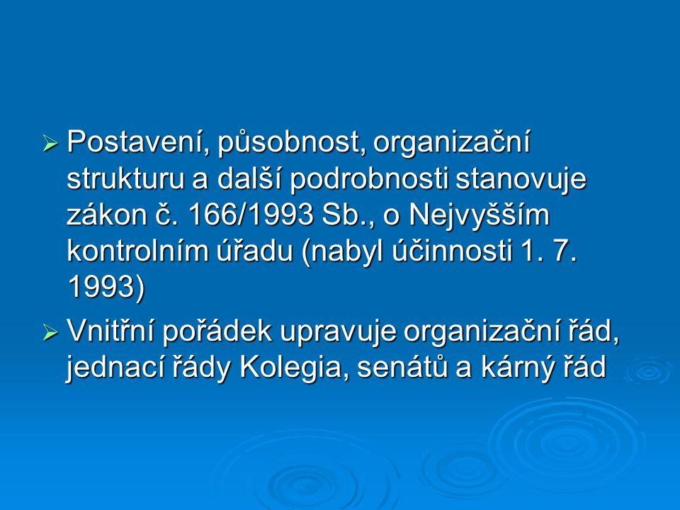  Postavení, působnost, organizační strukturu a další podrobnosti stanovuje zákon č. 166/1993 Sb., o Nejvyšším kontrolním úřadu (nabyl účinnosti 1. 7.