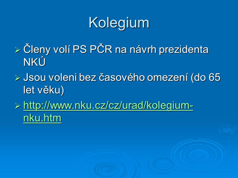Kolegium  Členy volí PS PČR na návrh prezidenta NKÚ  Jsou voleni bez časového omezení (do 65 let věku)  http://www.nku.cz/cz/urad/kolegium- nku.htm
