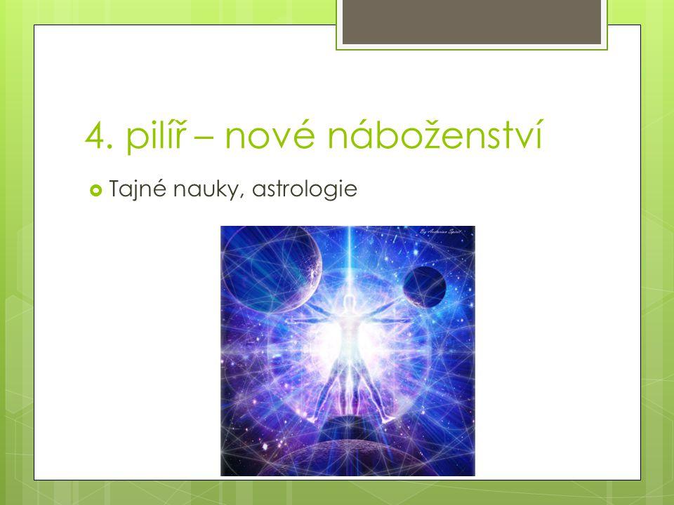 4. pilíř – nové náboženství  Tajné nauky, astrologie
